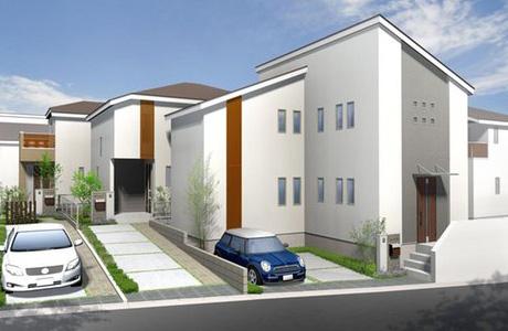 テクノストラクチャーの家が立ち並ぶ街並みのイメージパース画像。