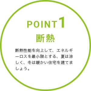 POINT1・断熱。断熱性能を向上して、エネルギーロスを最小限とする、夏は涼しく、冬は暖かい住宅を建てましょう。