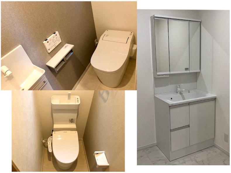 1階トイレ、2階トイレ、脱衣所洗面台